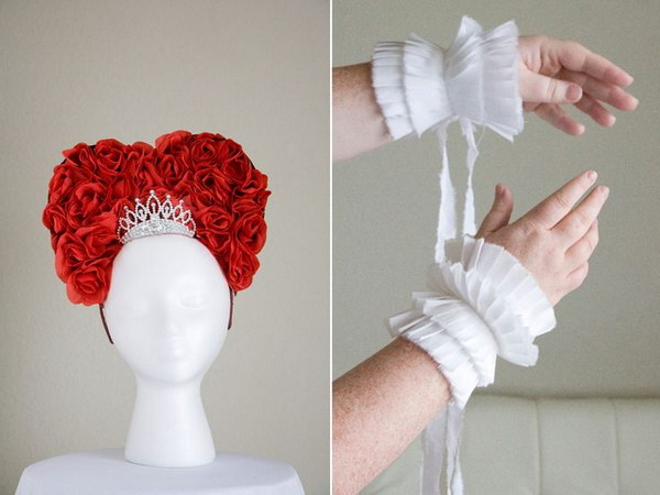 DIY Queen of Hearts Headpiece and Pleated Cuffs