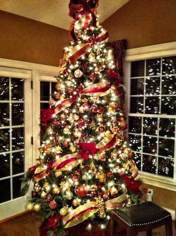 red green and gold christmas tree - Gold Christmas Tree Decorating Ideas
