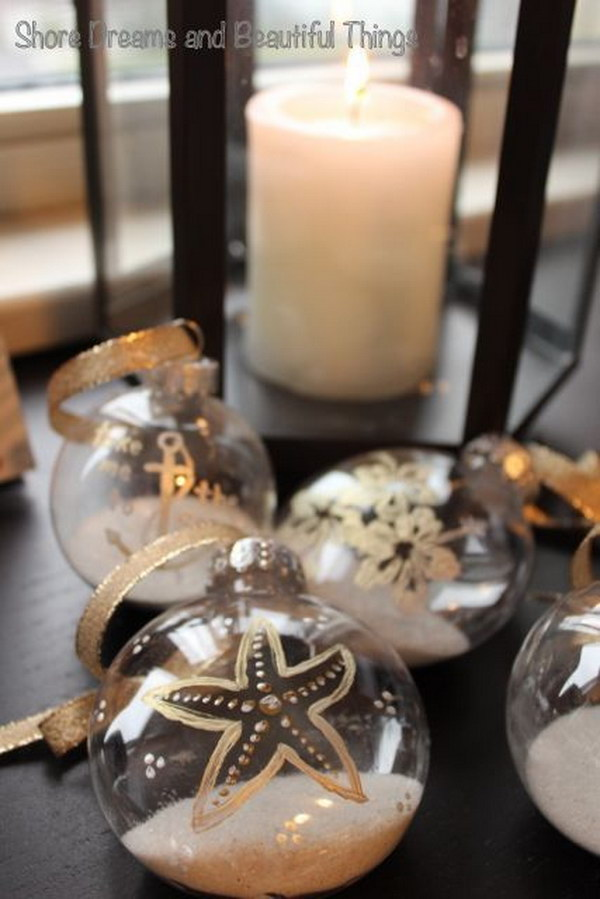 DIY Painted Coastal Christmas Ornaments
