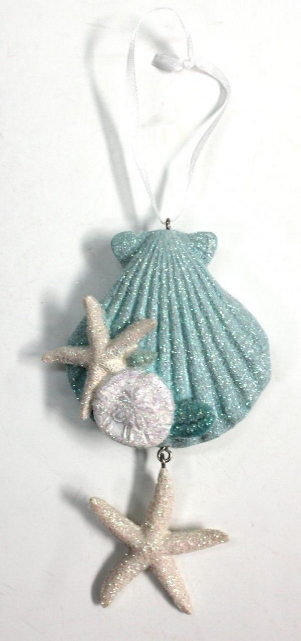 Glittered Resin Seashell Ornament