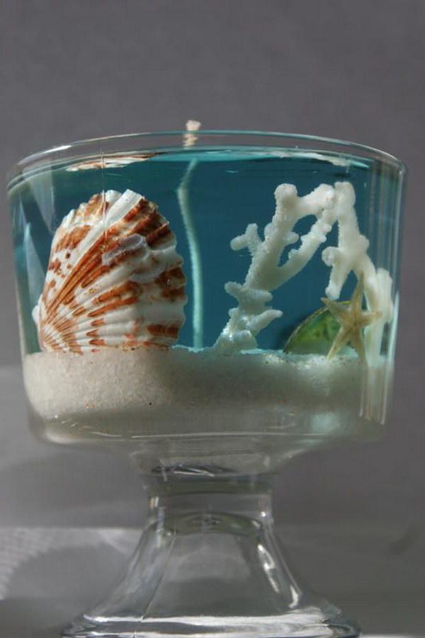 DIY Beach Gel Wax Candles