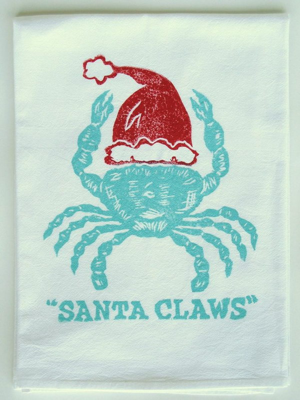 Aqua Santa Claws Kitchen Towel