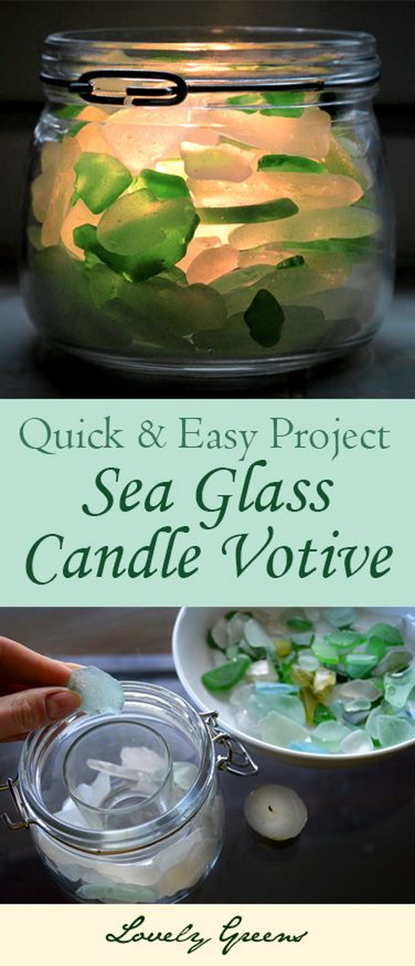 DIY Seaglass Candle Votive