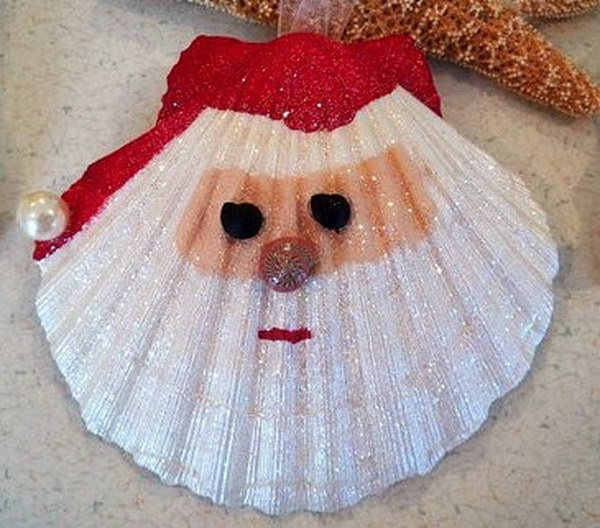 Holiday Seashell Santa Ornament
