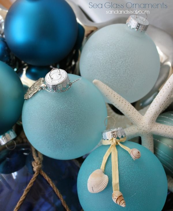 diy sea glass ornaments - Beach Christmas Decorating Ideas