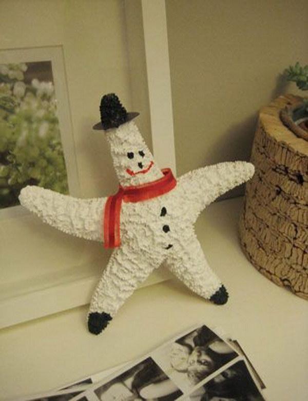 DIY Starfish Snowman