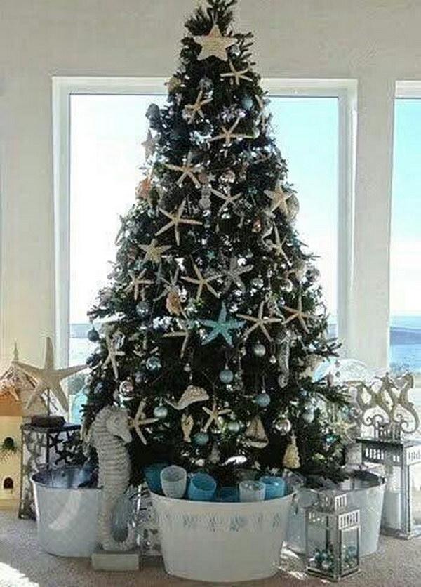 a coastal christmas starfish tree
