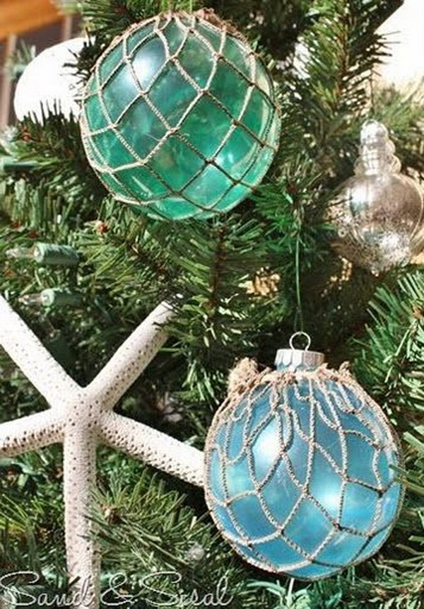handmade beach themed christmas decorations for a coastal inspired beach christmas decorations diy glass float ornaments