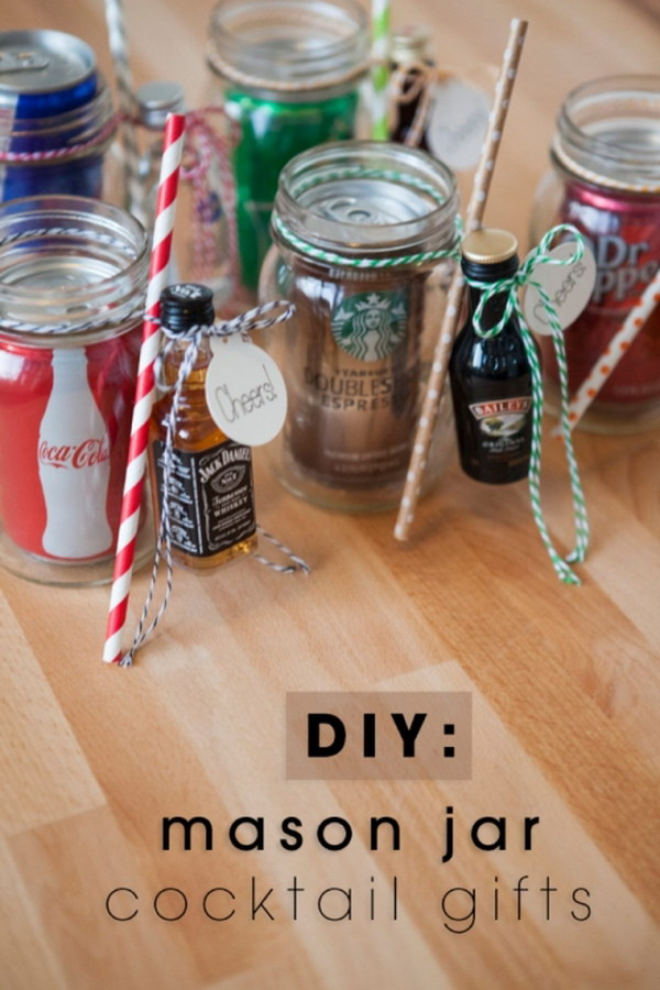 DIY: Mason Jar Cocktail Gifts For Men. These mason jar cocktail gifts are the perfect gifts for those men who love to drink!