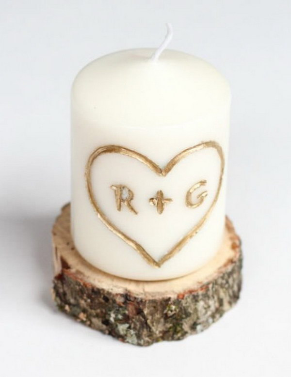 DIY Carved with Initial Candles. Carving your and your sweetheart's initials on a candle. It is so easy to do amd makes great gifts for your boyfriend.