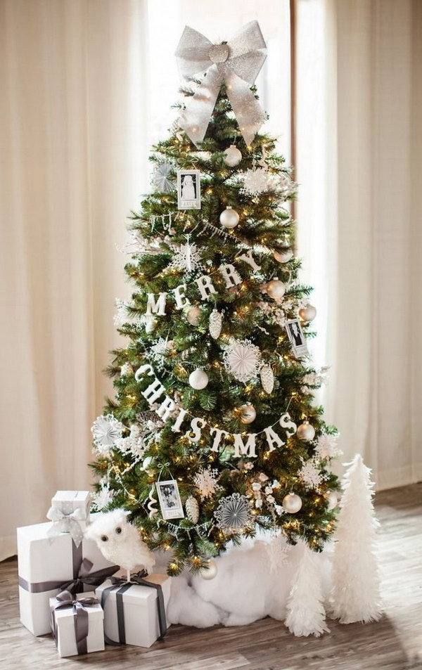 white and silver glittery christmas tree - Silver And White Christmas Tree Decorations