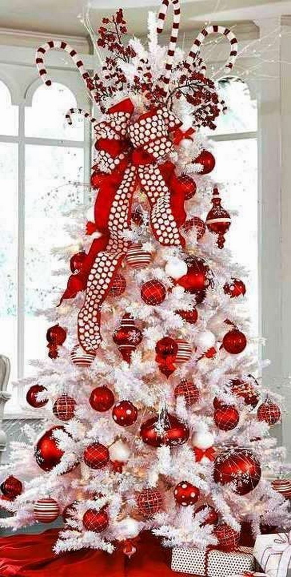 white christmas tree with red decorations - White Christmas Tree Decorations