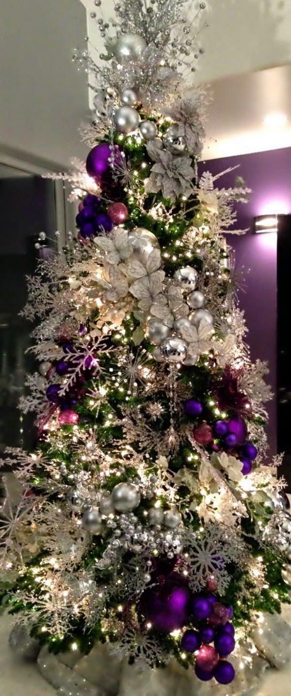 purple and silver christmas tree - Silver Christmas Tree Decorating Ideas