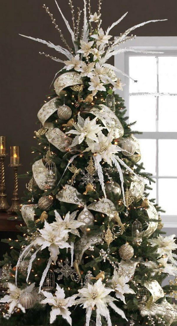 christmas tree with silver and gold decoration - White And Gold Christmas Tree Decorations