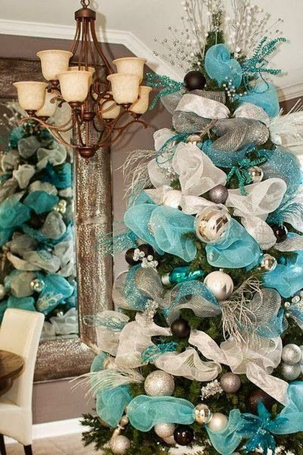 tiffany blue and creme mesh christmas tree - Mesh For Christmas Tree Decorating
