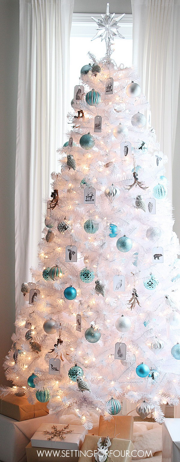 white christmas tree with silver and blue ornaments - Turquoise Christmas Tree Decorations