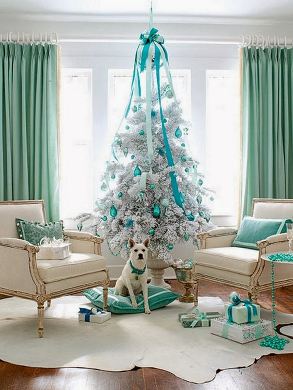 white and turquoise christmas tree