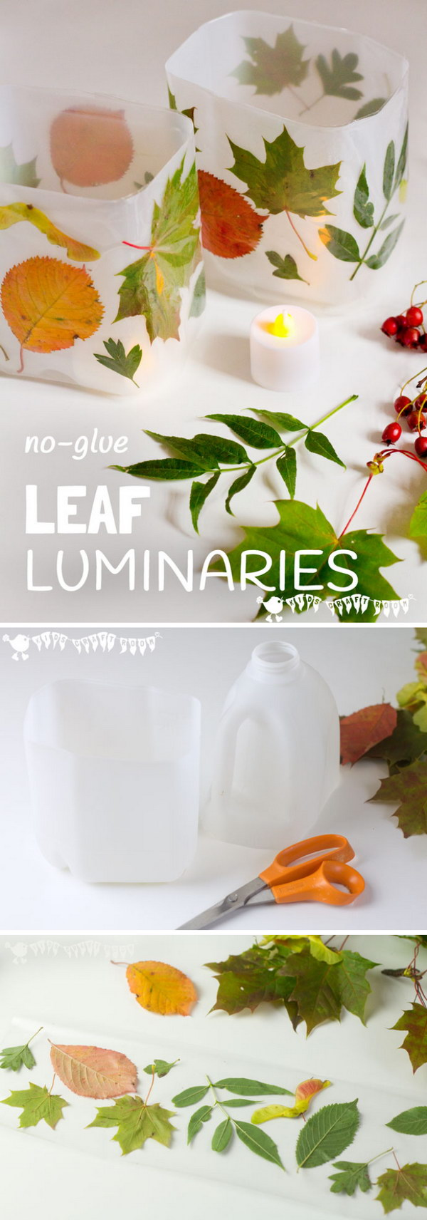 DIY Leaf Luminaries.