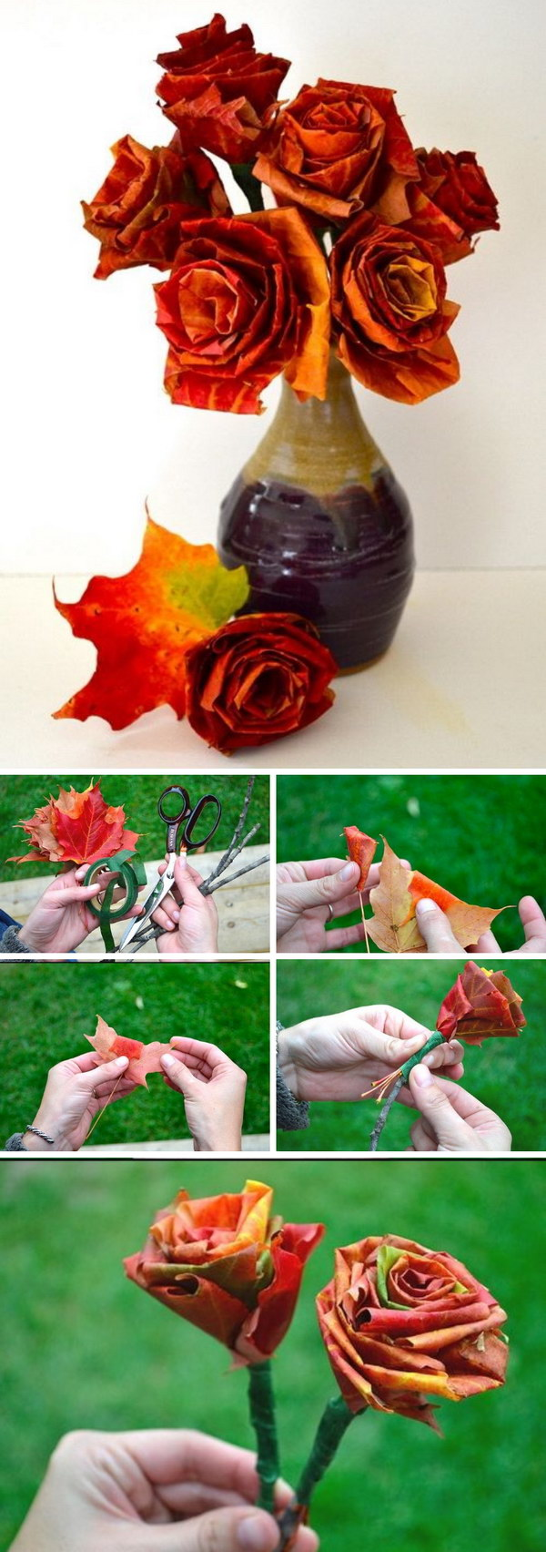 DIY Autumn Leaf Bouquet.