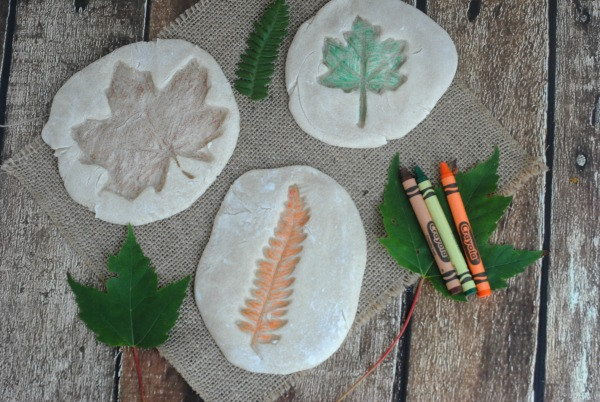 Colored Salt Dough Leaf Impressions.