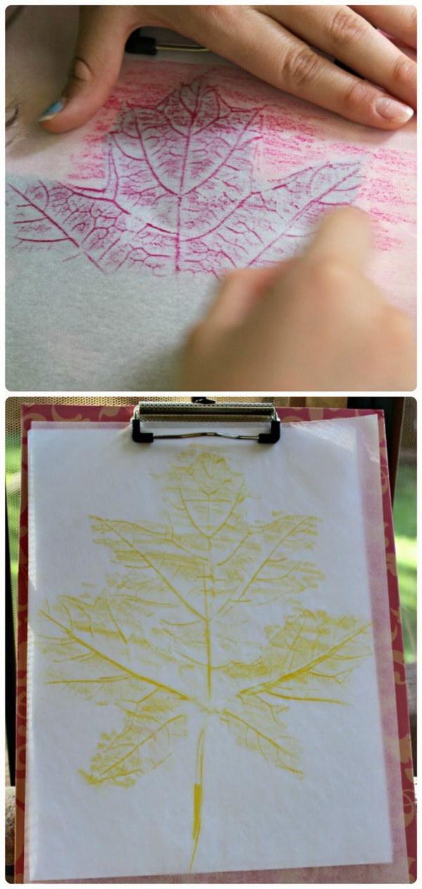 Leaf Rubbings Crafts.