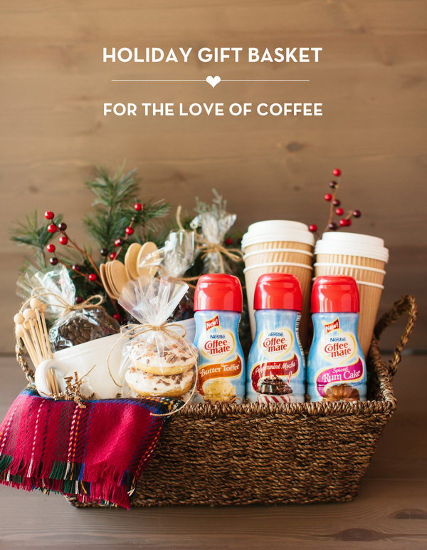 35 creative diy gift basket ideas for this holiday hative coffee holiday gift basket solutioingenieria Image collections