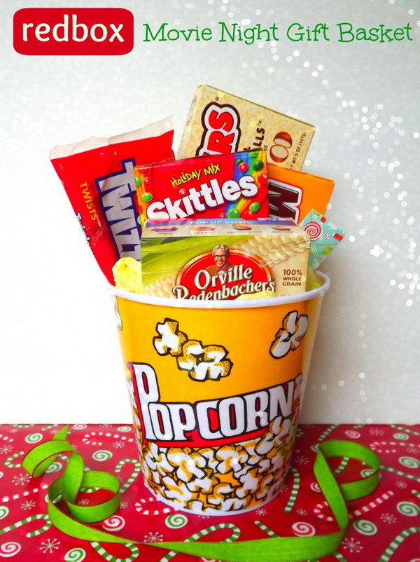 DIY Handmade Movie Night Redbox Gift Basket.