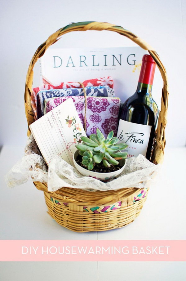 35 creative diy gift basket ideas for this holiday hative diy housewarming gift basket negle Images