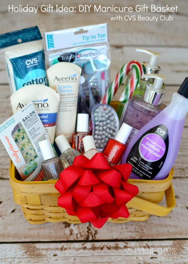 35 creative diy gift basket ideas for this holiday hative holiday gift idea diy manicure gift basket solutioingenieria Images