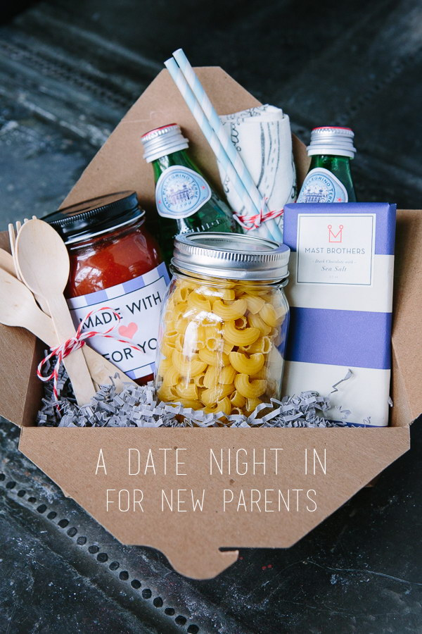 At Home Date Night Gift Basket.