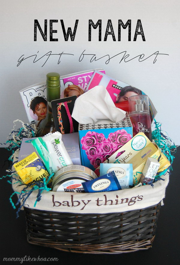35 creative diy gift basket ideas for this holiday hative new mama gift basket solutioingenieria Images