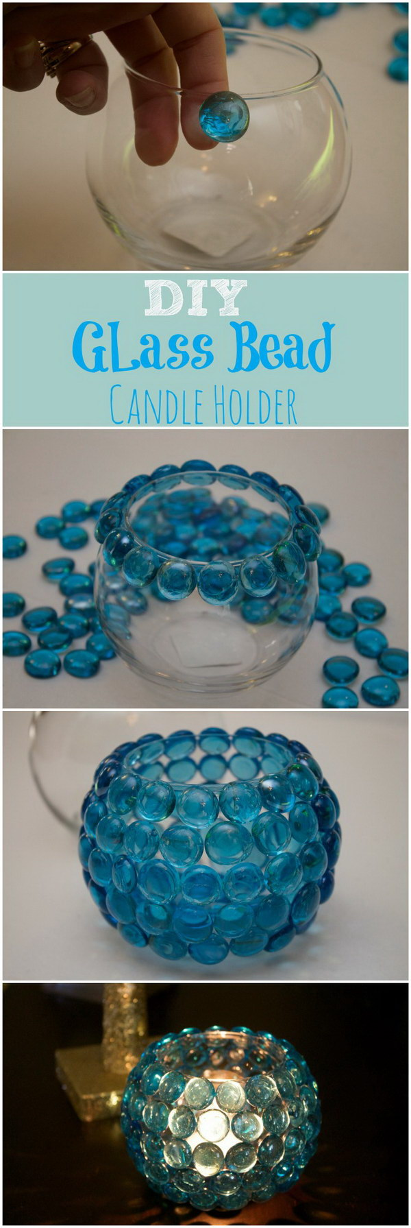 Glass Bead Candle Holders.