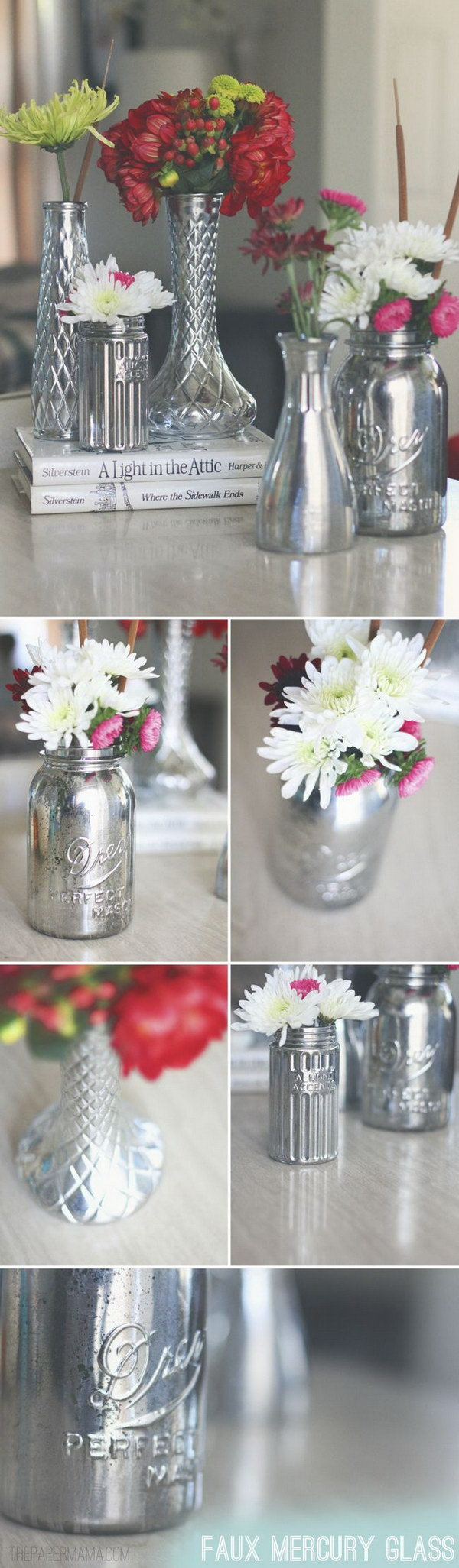 Faux Mercury Glass Vases.