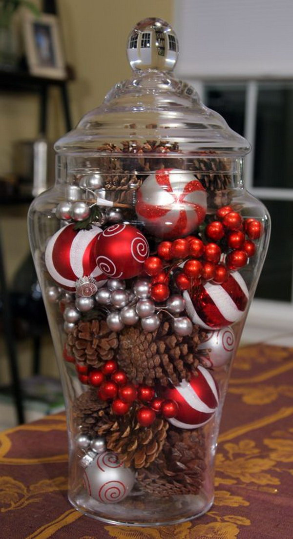 Pine Cones and Ornaments Glass Jar Holiday Centerpiece.