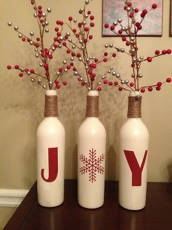 Wine Bottle Holiday Centerpiece.