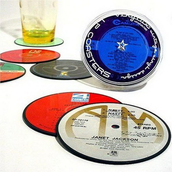 Vintage Record Coasters. These coasters are upcycled from true vinyl lp records. They are a great addition to a living space and make an unique gift for anyone who love music.