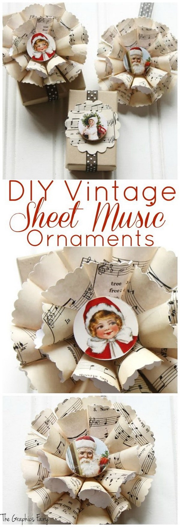 DIY Vintage Sheet Music Christmas Ornaments.