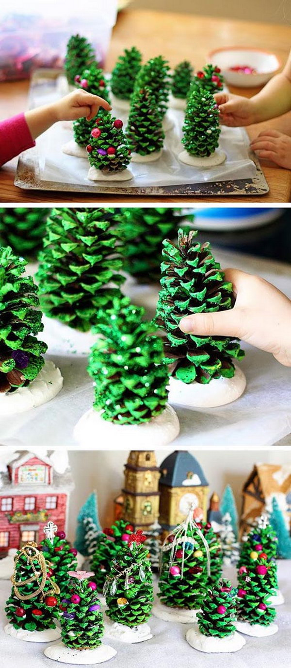 DIY Pine Cone Christmas Trees.