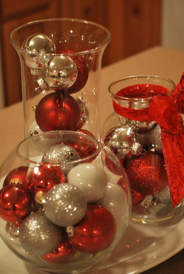 Dollar Tree Christmas Centerpiece. Perfect Christmas centerpiece you can make on a budget. Only take a few minutes to make.