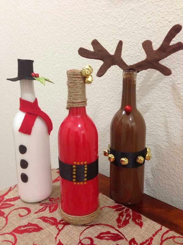DIY Painted Wine Bottles for Christmas Decoration.