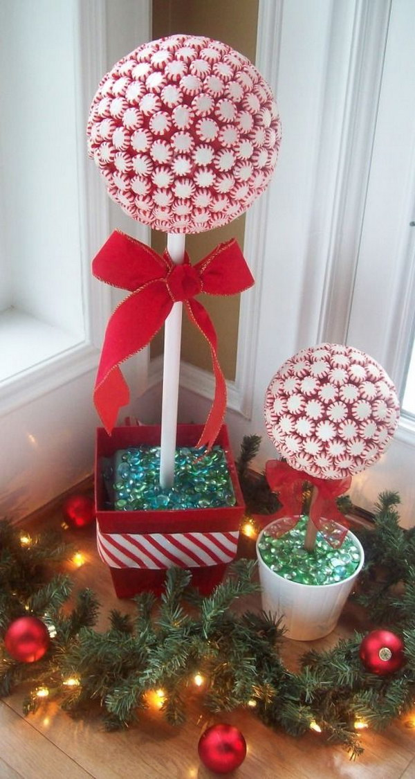 diy peppermint candy topiaries