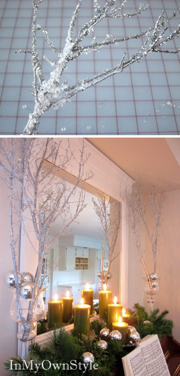 Sparkly Branches For Christmas Decoration. Super cheap and beautiful iced branches which are great for this winter season.