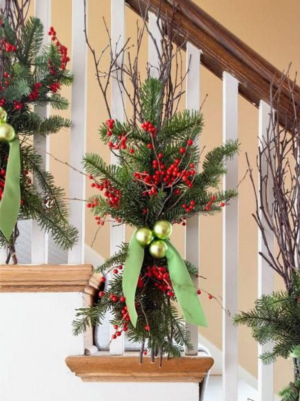 natural christmas decor quick and easy winter decorations with evergreens chartreuse ornaments twigs - Easy Homemade Christmas Decorations Ideas