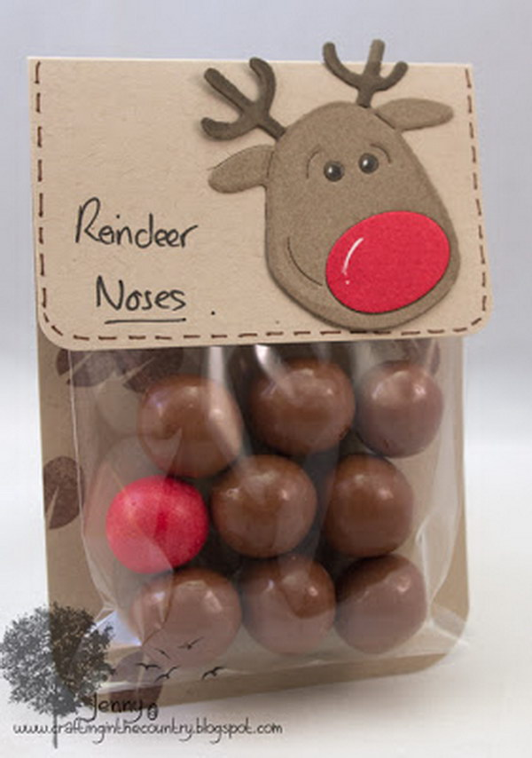 Reindeer Noses. Put chocolate malt balls and one red gumball in a plastic bg for a cute reindeer nose gift.