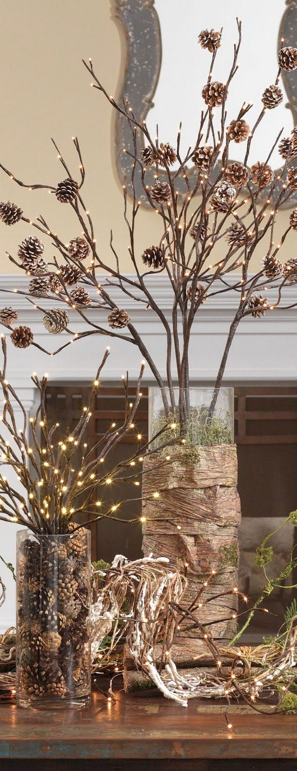 Christmas Decoration with Pinecones and Lighted Branches
