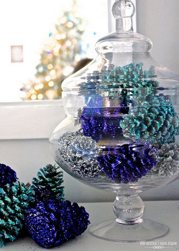 Blue Glittered Pinecones in a Glass Jar