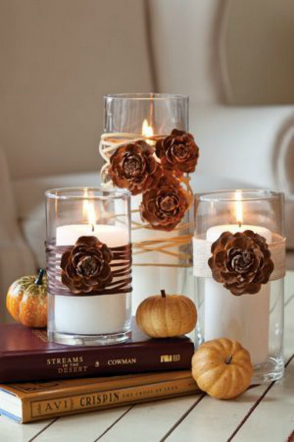Pinecone Thanksgiving Candles