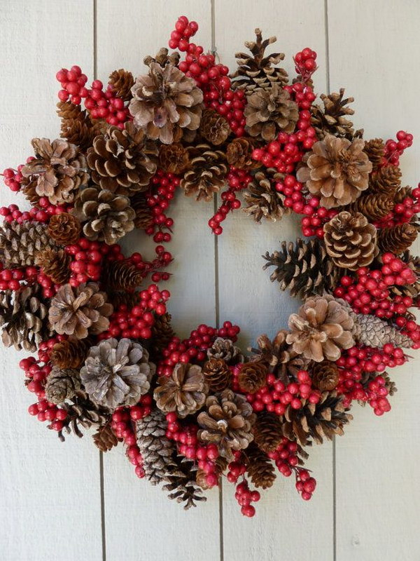 berries and pinecones wreath for outdoor