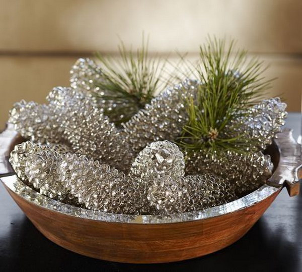 Mercury Glass Look Spray Paint Pinecones