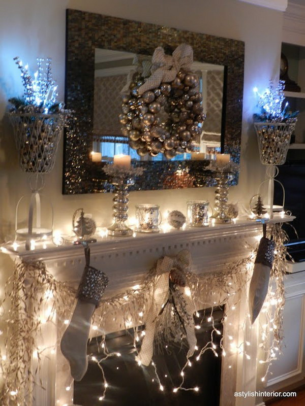 stylish gold and silver christmas mantel
